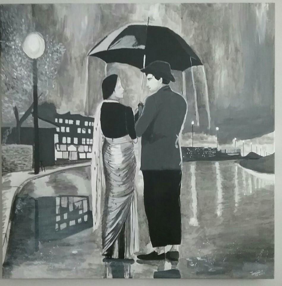 Título: Declaración de amor bajo la lluvia  Autora: Jyo-arte (Facebook)