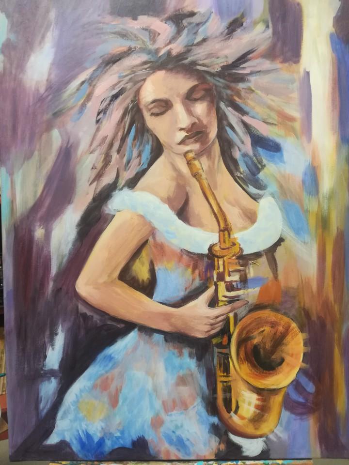 Título: La mujer saxofonista Autora: Blanca Donate